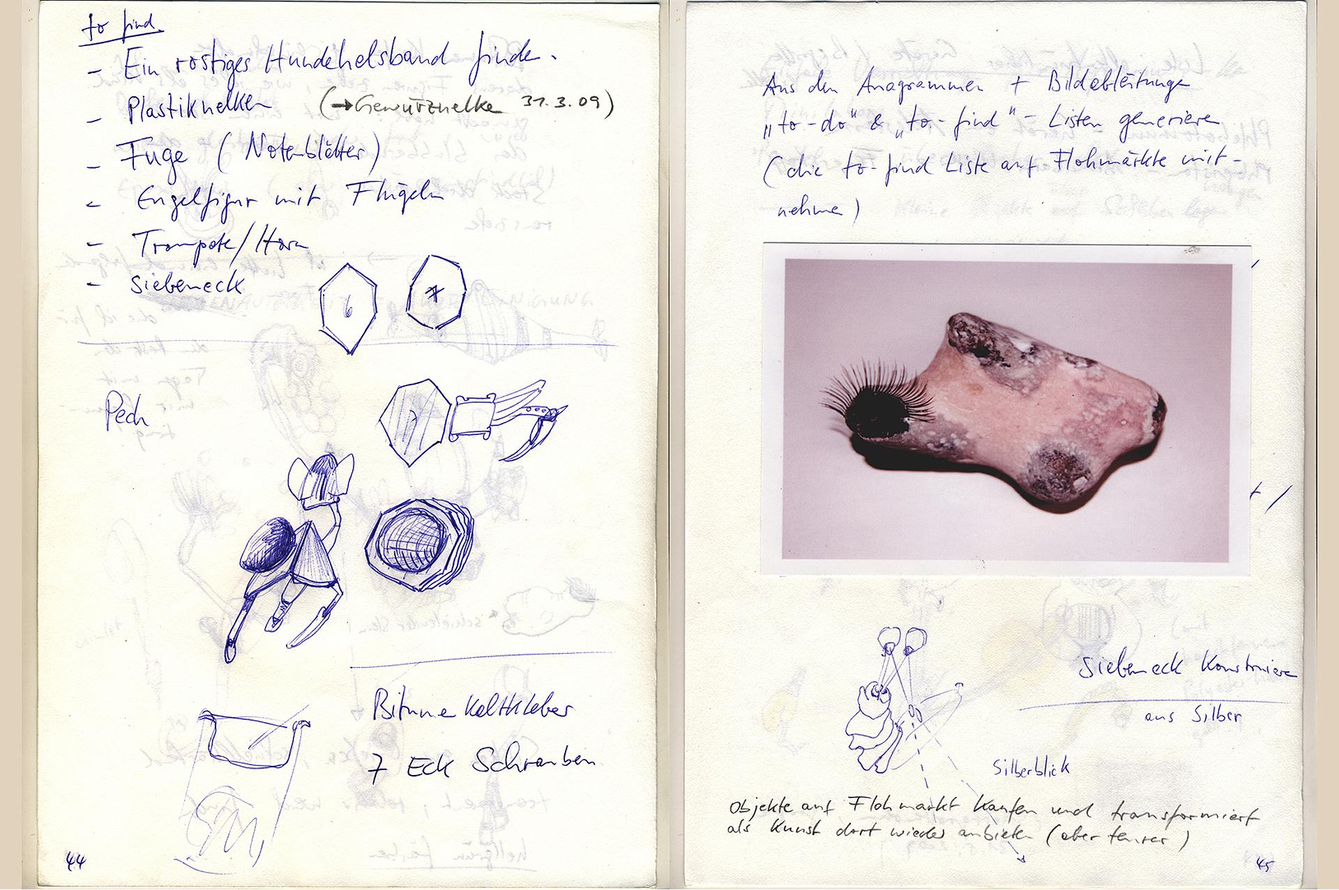 Ausstellungsansicht Anagramm@1 von Stefan Zoellner, Sammlung Siepermann, Detail Die Notizen