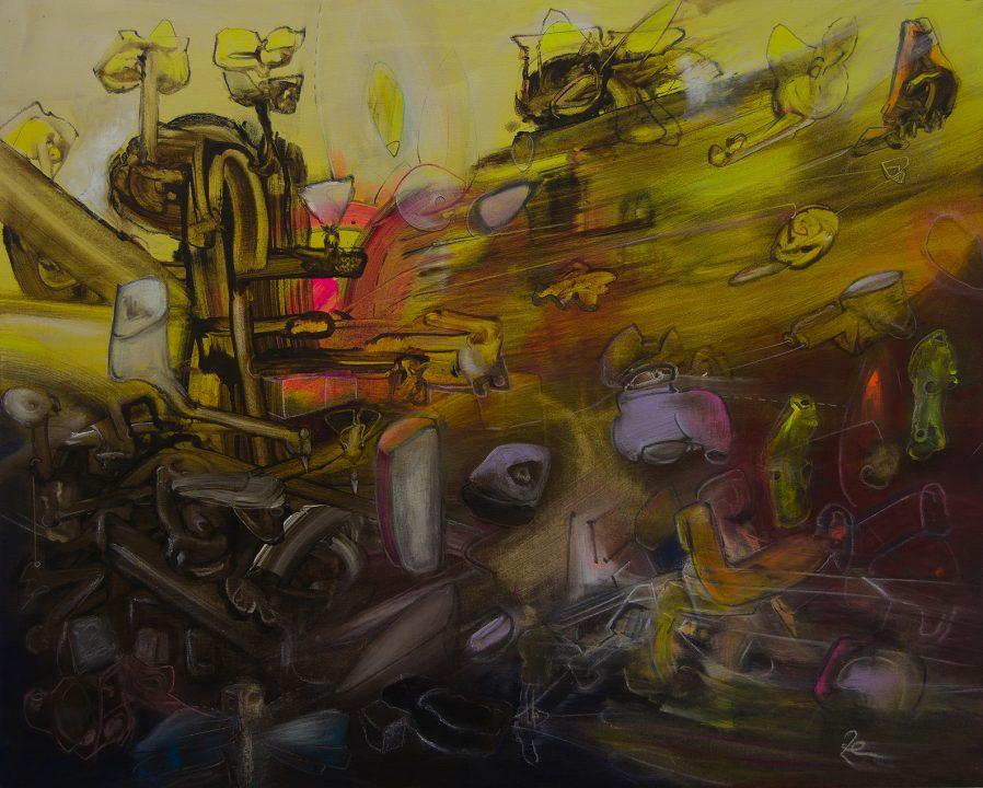 Élan Vital 2017 _ Acryl und Stifte auf Baumwolle _ 80 x 100 cm