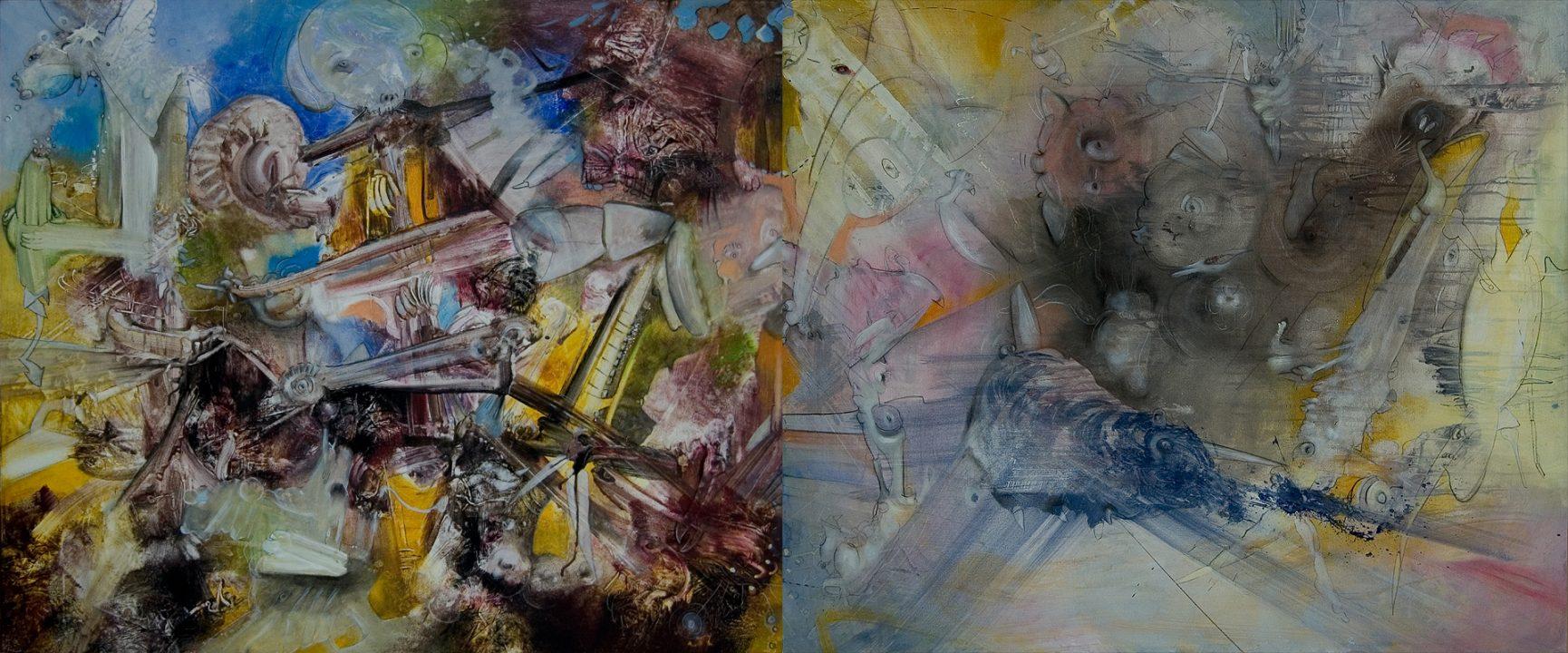 Transition _ 2004 _ Diptychon _ Acryl auf Baumwolle _ 100 x 240 cm