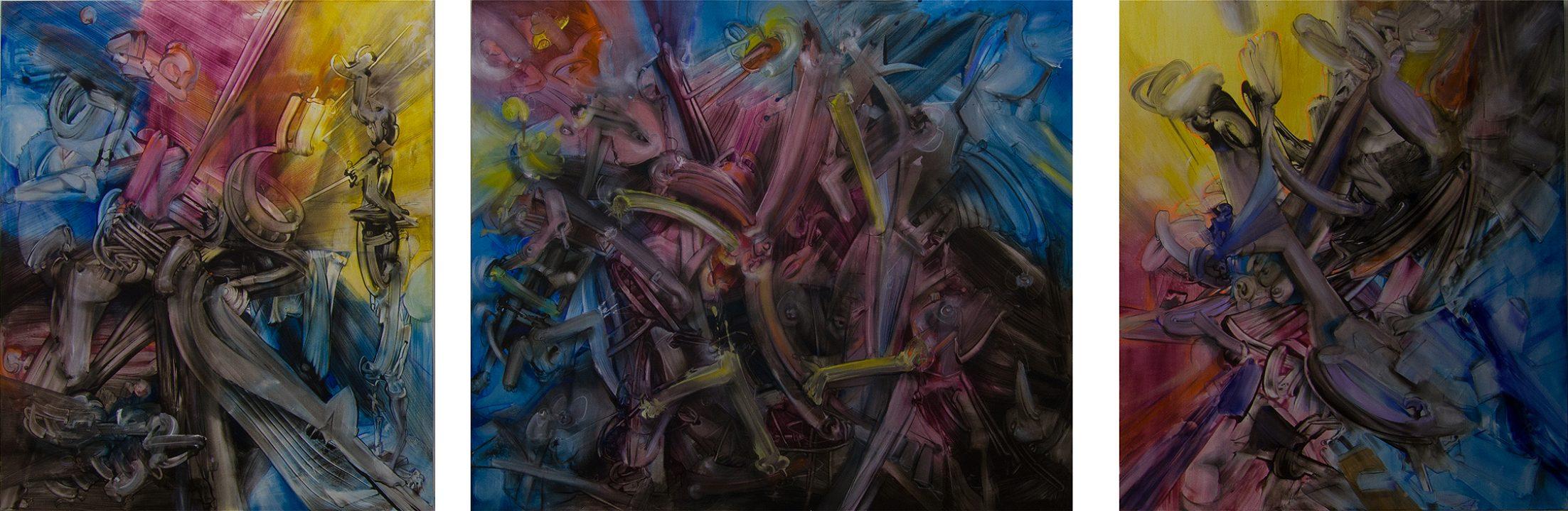 Malerei von Stefan Zoellner Acrylbild Waves Triptychon